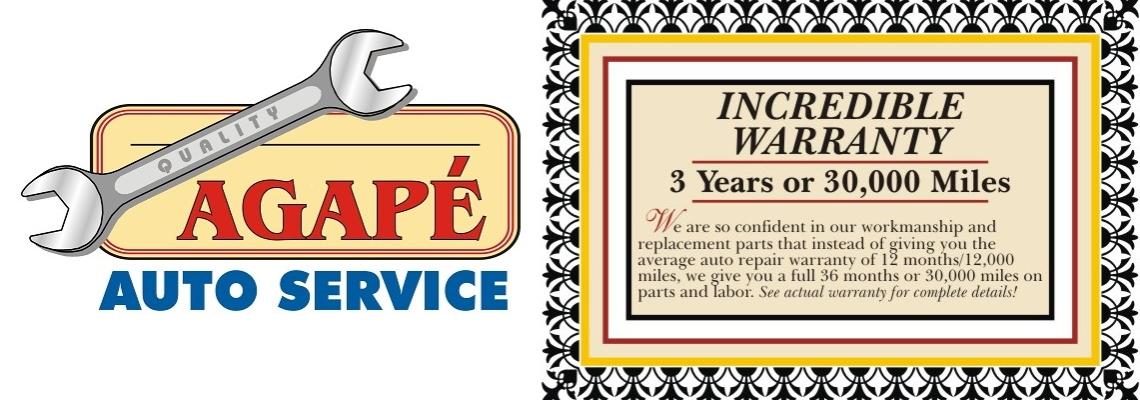 Agape Auto Logo  Warranty slide